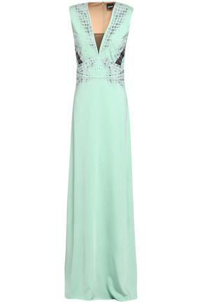 JUST CAVALLI Crystal-embellished ponte gown