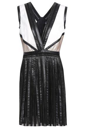 JUST CAVALLI Paneled tulle, ponte and faux leather mini dress