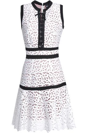 JUST CAVALLI Lace-up macramé mini dress