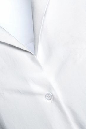 HALSTON HERITAGE Cold-shoulder knotted cotton-poplin top