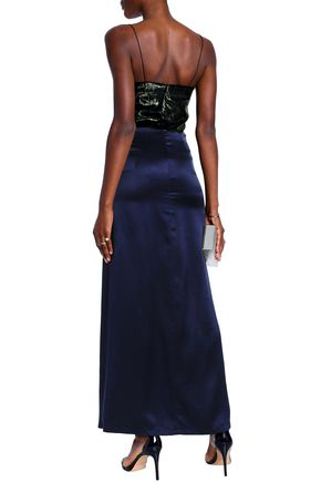 MICHAEL LO SORDO Cutout metallic-paneled silk-satin maxi dress