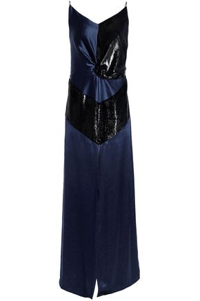 MICHAEL LO SORDO Cutout metallic-paneled silk-satin maxi dress