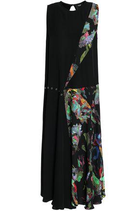 VERSUS VERSACE Embellished printed crepe midi dress