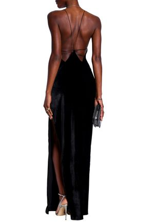 MICHAEL LO SORDO Open-back silk-blend velvet maxi slip dress