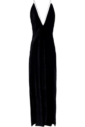 MICHAEL LO SORDO Open-back silk-blend velvet maxi slip dress