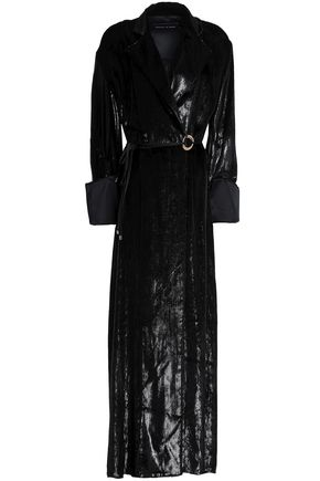 MICHAEL LO SORDO Metallic velvet maxi wrap dress