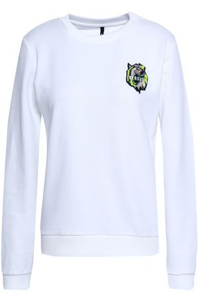 VERSUS VERSACE Appliquéd French cotton-terry sweatshirt
