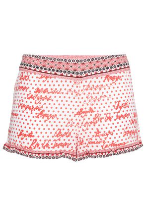 CAMILLA Crystal-embellished printed silk shorts