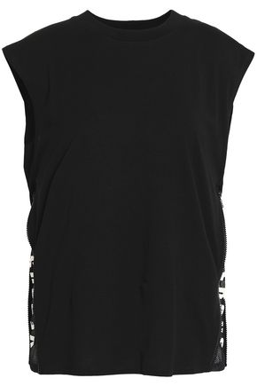 VERSUS VERSACE Printed mesh-trimmed cotton-jersey top