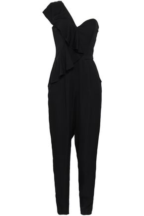 MILLY One-shoulder ruffled stretch-crepe jumpsuit