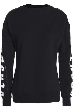 VERSUS VERSACE Zip-detailed printed French cotton-terry sweatshirt