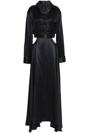 MICHAEL LO SORDO Cutout silk-satin maxi shirt dress