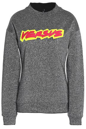 VERSUS VERSACE Printed metallic French cotton-terry sweatshirt