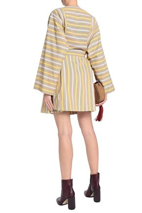 SEE BY CHLOÉ Bow-detailed striped cotton-canvas mini dress