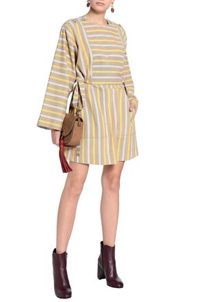 528aba1f569a SEE BY CHLOÉ Bow-detailed striped cotton-canvas mini dress