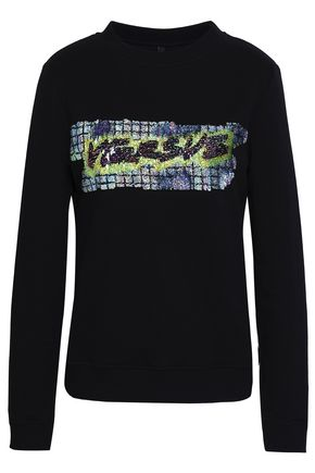 VERSUS VERSACE Sequin-embellished French cotton-terry sweatshirt