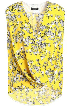 RAG & BONE Wrap-effect floral-print silk crepe de chine top