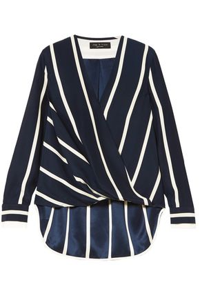 RAG & BONE Wrap-effect striped silk-satin crepe top