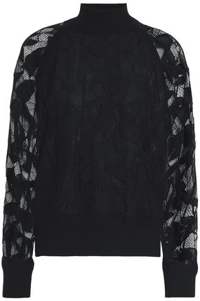 RAG & BONE Lace-paneled knitted top
