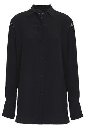 RAG & BONE Hana macramé-trimmed silk crepe de chine shirt