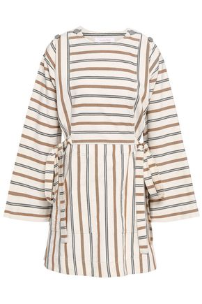 SEE BY CHLOE | See By Chloé Woman Bow-detailed Striped Cotton-canvas Mini Dress Ecru | Goxip