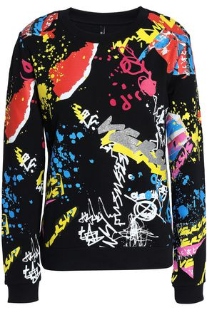 VERSUS VERSACE Flocked printed French cotton-terry sweatshirt