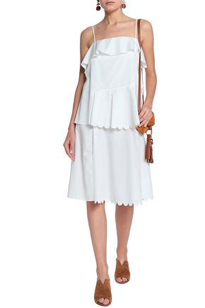 SEE BY CHLOÉ Layered scalloped cotton-poplin dress