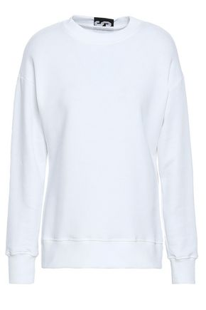 VERSUS VERSACE Jacquard knit-trimmed ruched French cotton-terry sweatshirt