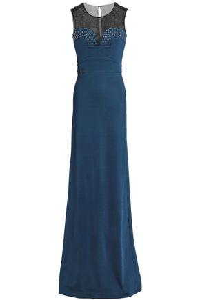 JUST CAVALLI Mesh-paneled ponte gown