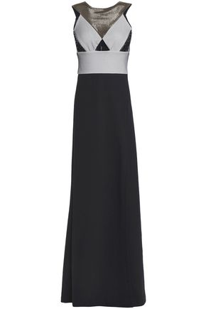 JUST CAVALLI Cutout mesh and jacquard gown