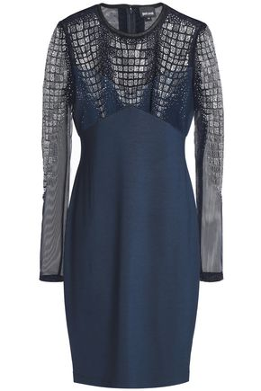 126b6bf110e JUST CAVALLI Embellished tulle and stretch-jersey mini dress