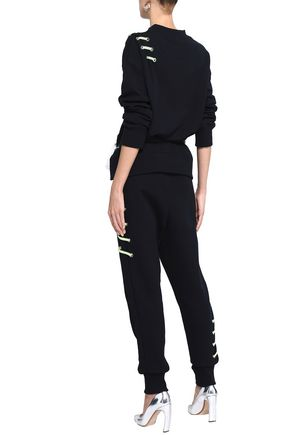 VERSUS VERSACE Lace-up French cotton-terry sweatshirt