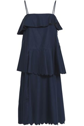 SEE BY CHLOE | See By Chloé Woman Layered Scalloped Cotton-poplin Dress Navy | Goxip
