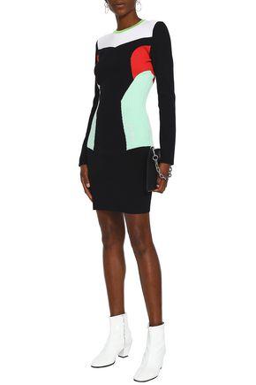 VERSUS VERSACE Color-block ribbed-knit mini dress