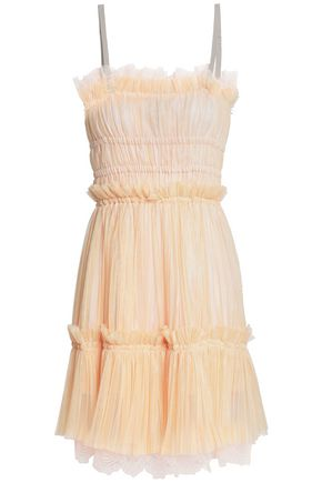 JUST CAVALLI Lace-trimmed plissé-tulle mini dress