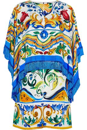 DOLCE & GABBANA Fringed layered silk-blend twill mini dress