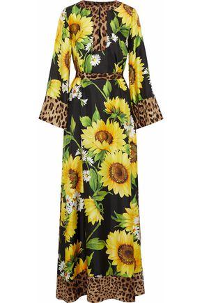 DOLCE & GABBANA Belted floral-print silk-twill maxi dress