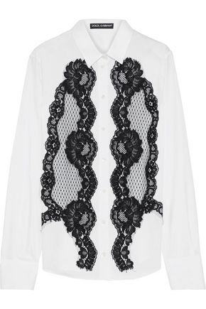 DOLCE & GABBANA Lace-appliquéd cotton-blend poplin shirt