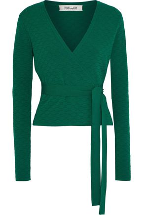DIANE VON FURSTENBERG Quilted stretch-knit wrap top