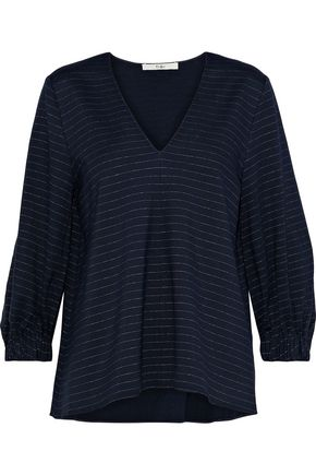 TIBI Pinstriped stretch-jersey blouse