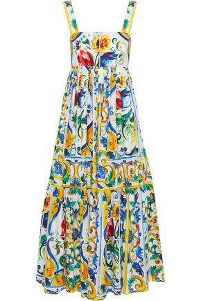 DOLCE & GABBANA Pleated printed cotton-poplin midi dress