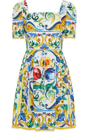DOLCE & GABBANA Smocked printed cotton-poplin dress