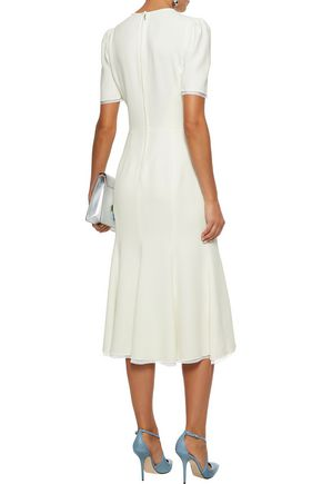 DOLCE & GABBANA Chiffon-trimmed bow-detailed cady midi dress