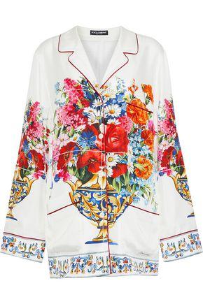 DOLCE & GABBANA Floral-print silk-twill shirt
