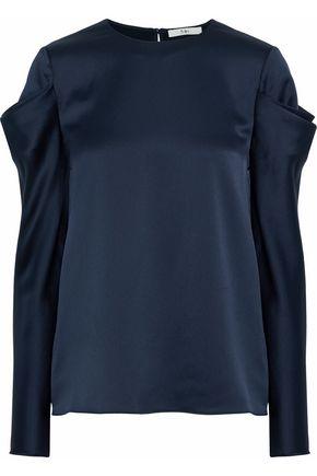 TIBI Gathered satin blouse