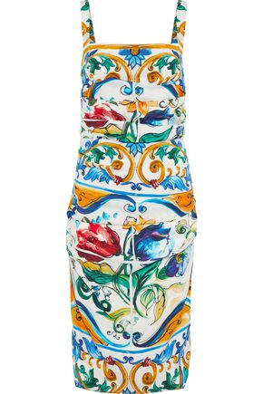 DOLCE & GABBANA Ruched printed stretch-silk dress