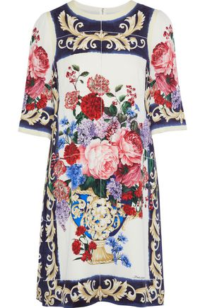 DOLCE & GABBANA Floral-print stretch-silk mini dress