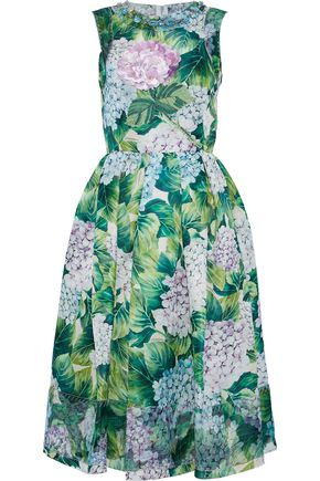DOLCE & GABBANA Embellished pleated floral-print silk-crepe dress