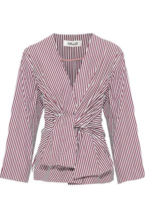 DIANE VON FURSTENBERG Tie-front striped cotton-poplin blouse
