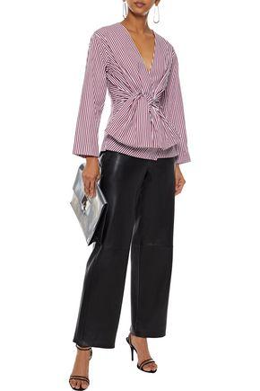 DIANE VON FURSTENBERG Tie-front striped cotton-poplin blouse
